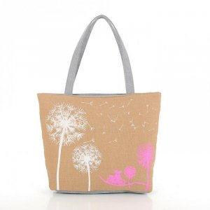 Handtasche mit Pusteblume in Kaki