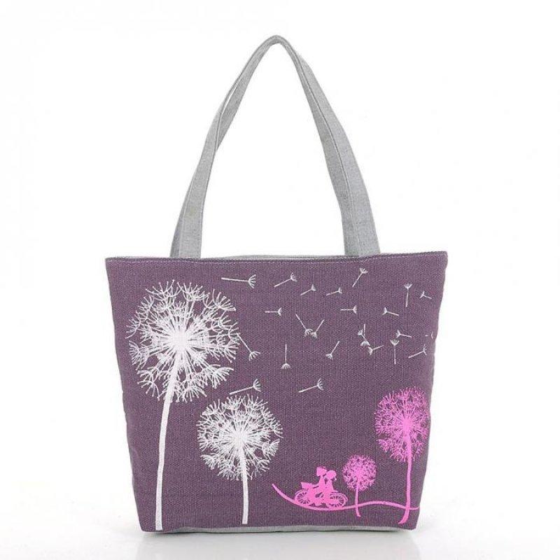 Handtasche mit Pusteblume in Dunkelviolett