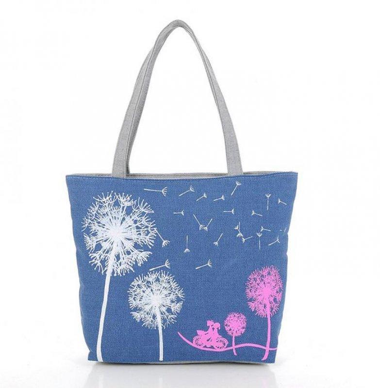 Handtasche mit Pusteblume in Blau