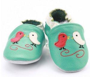 Krabbelschuhe Leder hellgrün mit Vögelchen