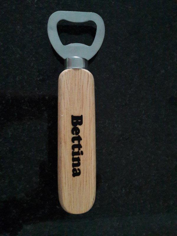 cooler Holz-Edelstahl Flaschenöffner mit Name