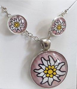 wunderschönes Schmuck-Set mit Halskette und Ohrsteckern rosa