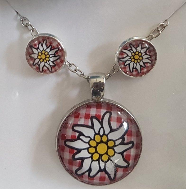 wunderschönes Schmuck-Set mit Halskette und Ohrsteckern rot