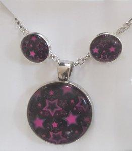 wunderschönes Schmuck-Set mit Halskette und Ohrsteckern Sterne pink