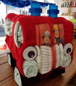 Windelgeschenk Feuerwehrauto