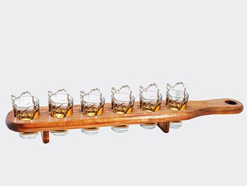 Holz-Shotglas-Halter mit 6 Gläsern