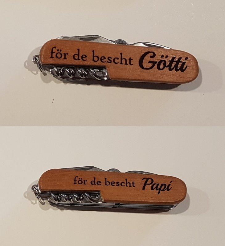 edles Sack- / Taschenmesser in Holzoptik für Götti / Papi