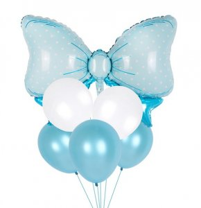 Ballon Dekoration blaue Schleife